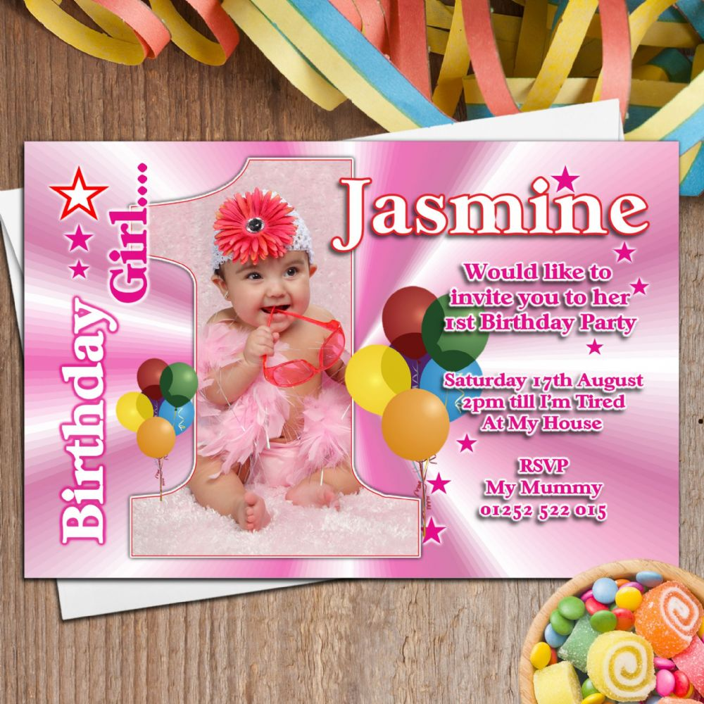 10 Girls Personalised First 1st Birthday Party PHOTO ...
